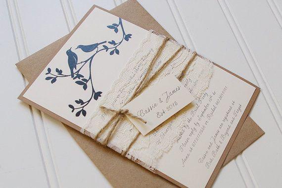 Rustic Bridal Shower Invitations: Unique Handmade Kraft and Lace Invites, Modern Rustic Lovebirds