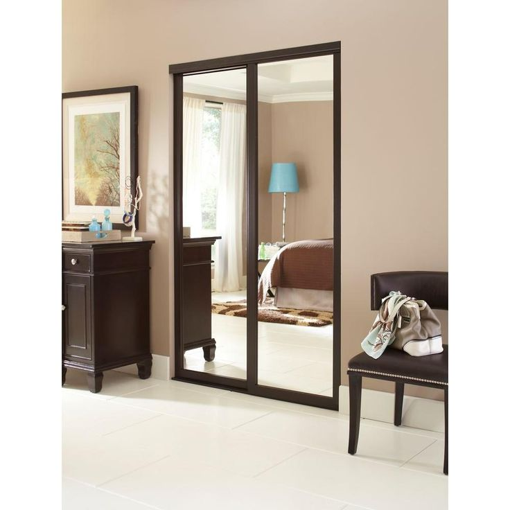 Contractors Wardrobe 96 in. x 81 in. Serenity Mirror Espresso Wood Framed Interior Sliding Door - SER-MCL9681ES2X - The Home Depot