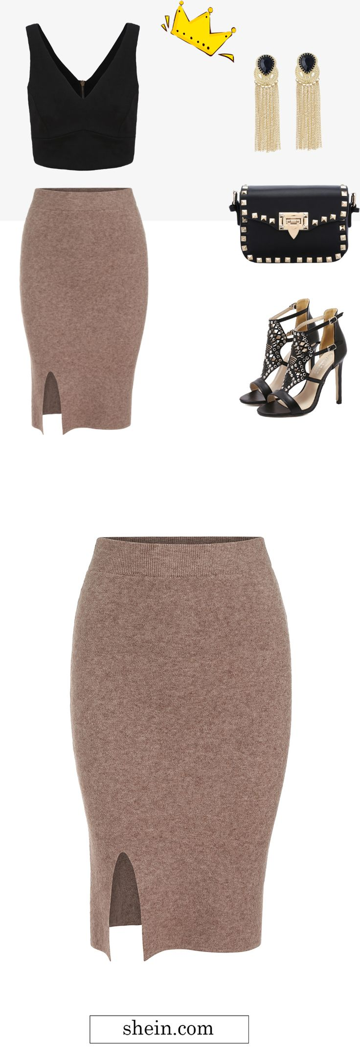 Sexy party feel outfit-camel split pencil knit skirt with crop cami top. Shein design.