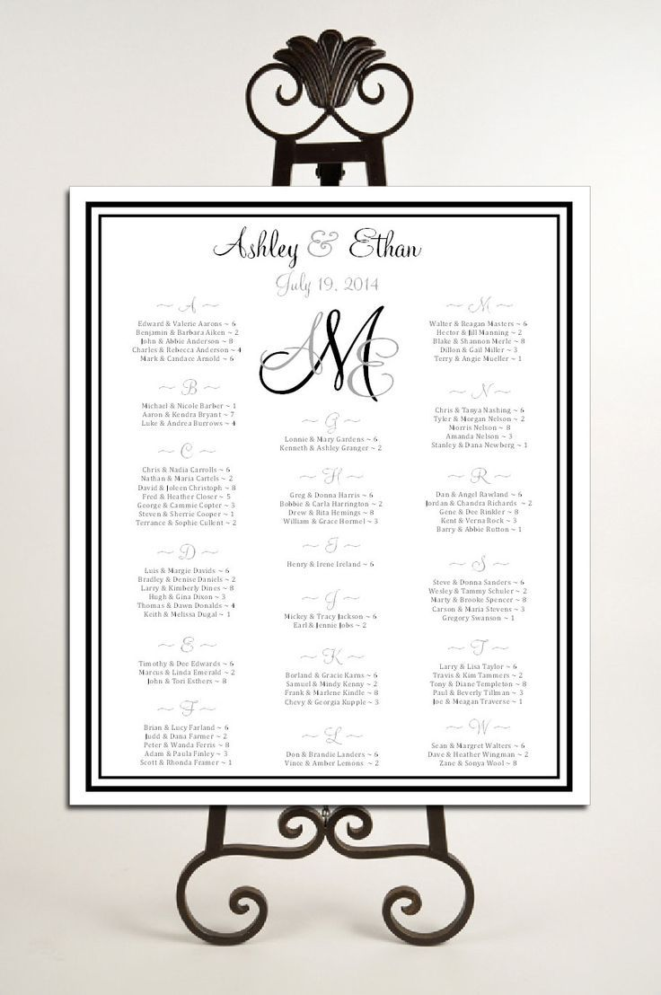 table assignment ideas for wedding monogram seating chart for table assignments for your wedding