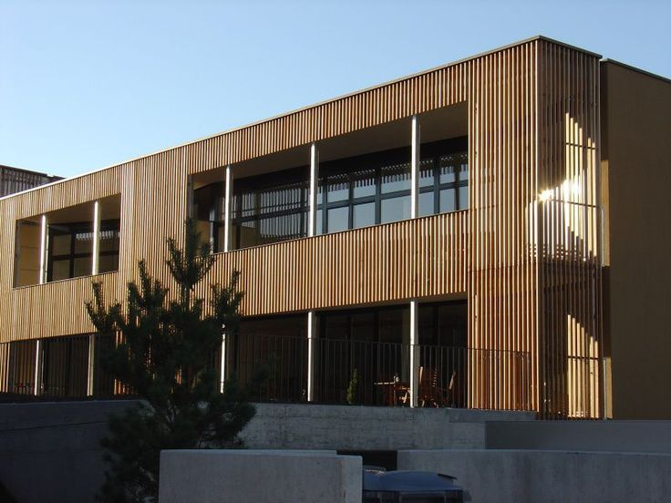 Wooden cladding grooved panel allschwil haring - Wooden cladding for exterior walls ...