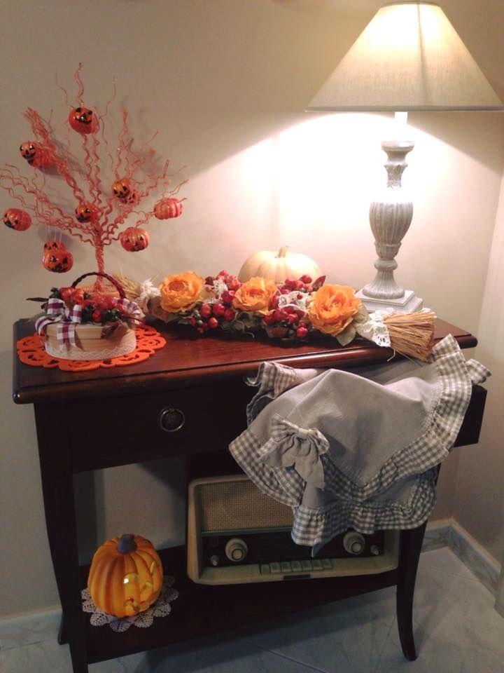 Aspettando halloween.... Tante idee per arredare la tua casa con colori autunnali #Treccia ideale per cappe camino¥con zucche#rose¥pizzo#scatola country.......!!!!