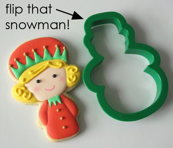 Christmas Elf Girl Cookies from a Snowman Cutter | Make Me Cake Me