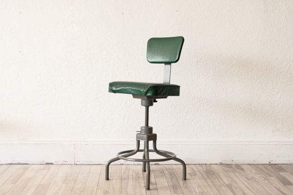 Green Vinyl Industrial Adjustable Stool by OTHERTIMESvintage, $155.00