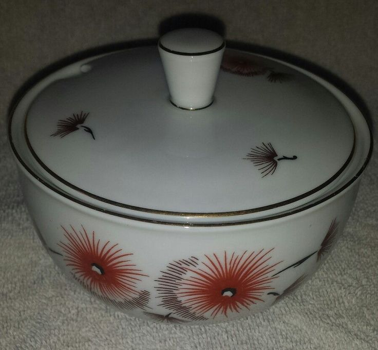 Arzberg Sugar Bowl with Lid White with Orange Dandelion flowers & gold trim #Arzberg