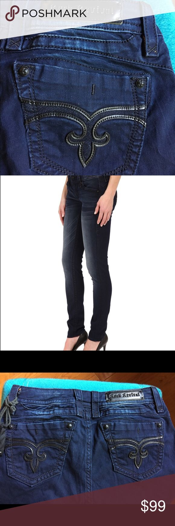 Rock Revival Adele skinny jeans Rock Revival Adele skinny jeans. Brand NWT. Beautiful dark wash blue jeans. Only selling cause I ordered about 3 dark wash jeans so one has to go. No lowballs or TRADES please as they are still returnable. Rock Revival Jeans