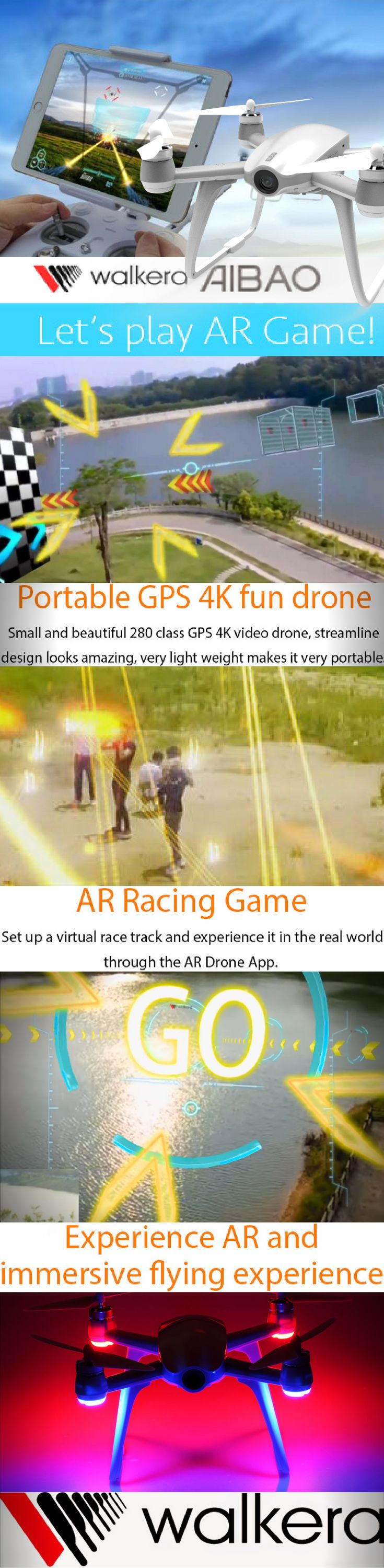 Walkera Aibao - not just a video drone, it's a Gaming drone as well!! Fly it and play Augmented Reality game on Aibao AR App! The Walkera Aibao is a unique UAV, it's a great 4K video GPS drone and a one of a kind Gaming drone two-in-one.