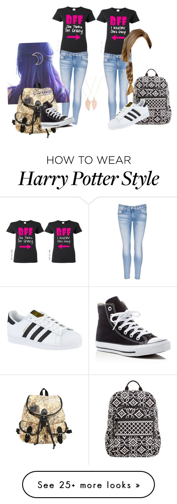 """Me and da bestie"" by polyesthers on Polyvore featuring rag & bone/JEAN, Converse, Vera Bradley, adidas, Monsoon and plus size clothing"