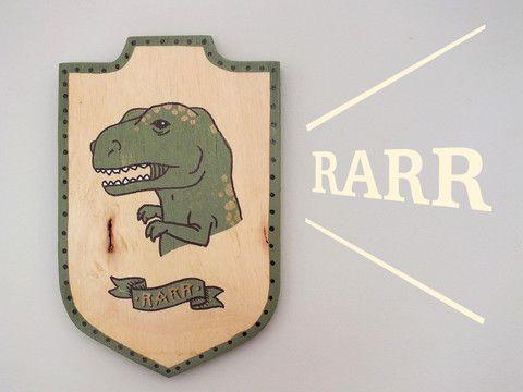 Rarrrrr dinosaur wall wooden plaque
