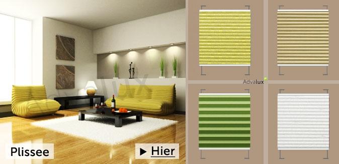 Zum Plissee Online Shop von Advalux aus berlin gehts hier: http://www.advalux.de/plissee-fuer-raeume/wohnzimmer-plissee.html  Plissee auf Maß ab 27,95 € (Stoff Vegas @ 400 x 400 mm)