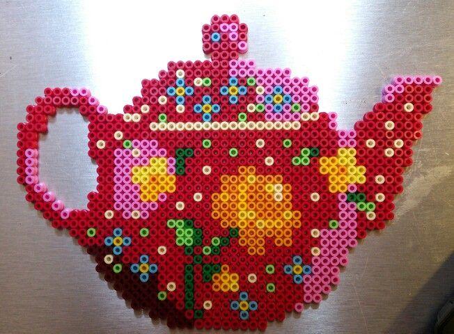 Teapot hama perler beads by Sonja Ahacarne