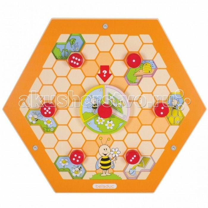 Деревянная игрушка Beleduc Настенный игровой элемент Пчелы.Природа  Beleduc Настенный игровой элемент Пчелы.Природа станет чудесным развлечением для Вашего любознательного малыша или малышки.   Выполняя игровое задание этого развивающего настенного элемента, Ваш юный исследователь сможет ознакомиться с интересными фактами происхождения вкусного лакомства - мёда! Элемент развивает фантазию, даёт первые знания о природе и стимулирует речевую активность.  Изготовлен игровой элемент из…