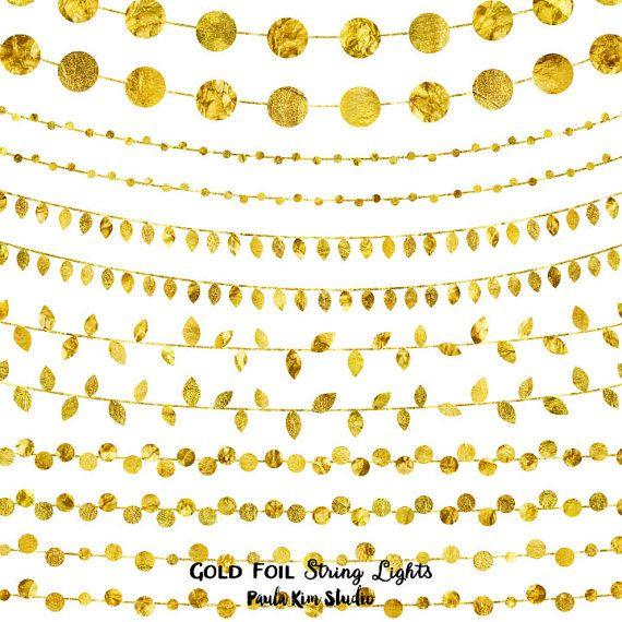 Gold Foil String Lights Clip Art, Digital Instant Download, Wedding Invitation Clipart ...