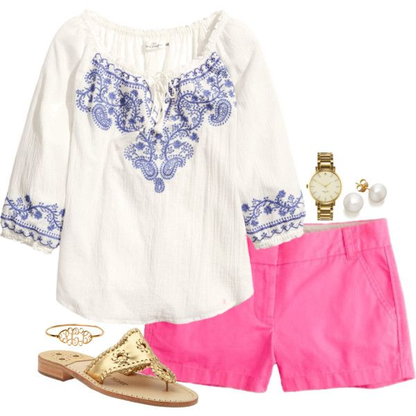 A fashion look from August 2014 featuring H&M blouses, Jack Rogers sandals and Kate Spade watches. Browse and shop related looks.
