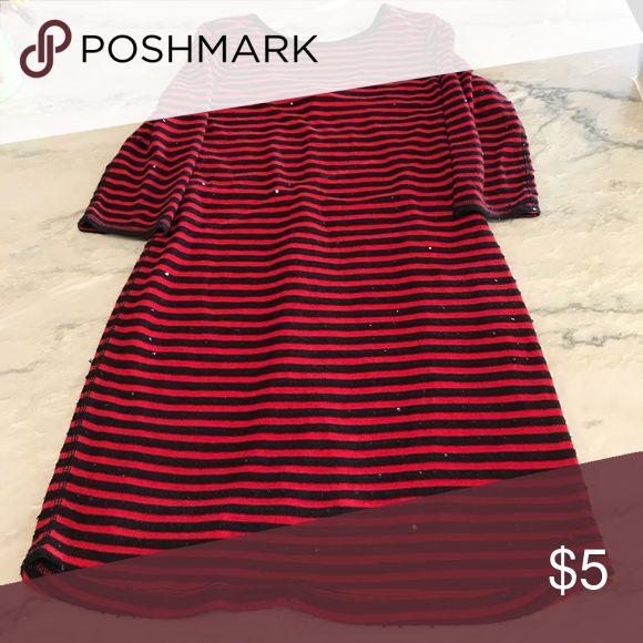 Red and black striped sequin dress EUC!! Express Dresses Midi