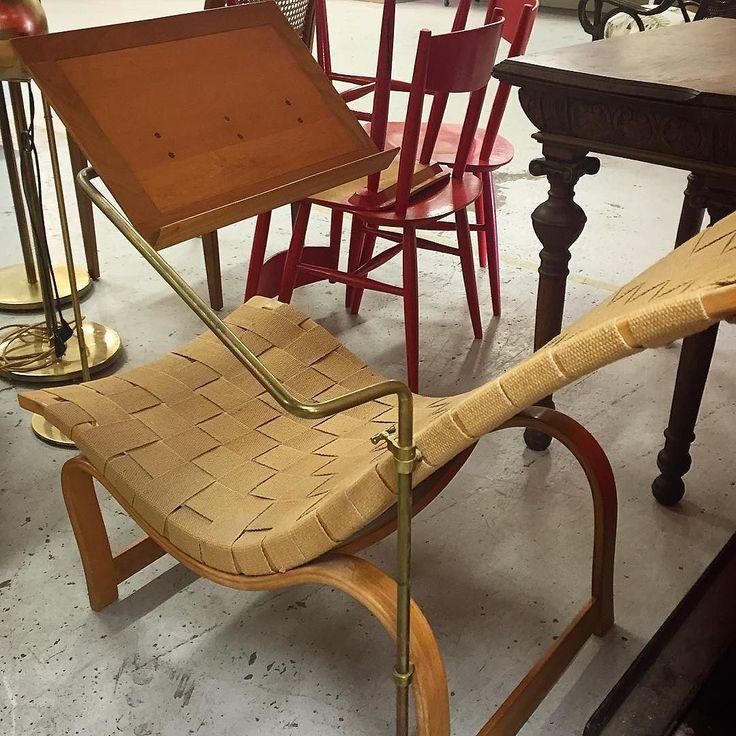 Bruno Mathsson rest chair No 36 with reading table. #mathsson #brunomathsson #chair #stol #vilstol #restchair #swedishdesign #svenskdesign #scandinaviandesign # skandinaviskdesign #furniture #möbler #design #architect #arkitekt #1930 #30s #30tal #modern #modernist #moderndesign #stockholm #sweden #sverige by joanna_andreas