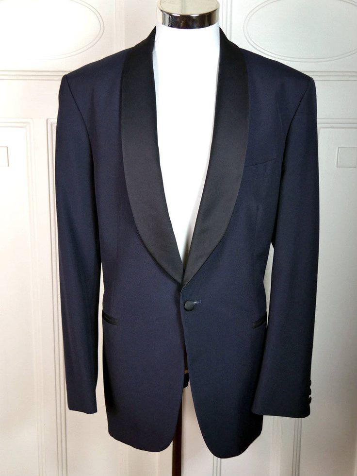 Vintage Tuxedo Jacket, Dark Blue Dinner Jacket w Black Satin Shawl Lapel, Finnish 1980s Navy Smoking Jacket, Tux Blazer: Size 42R (US, UK) by YouLookAmazing on Etsy