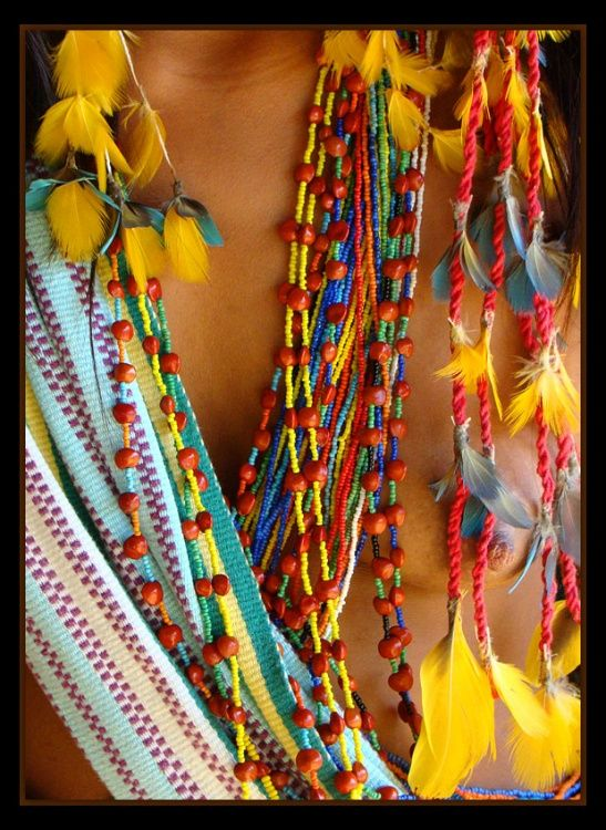 Detalhes de roupa indígena...