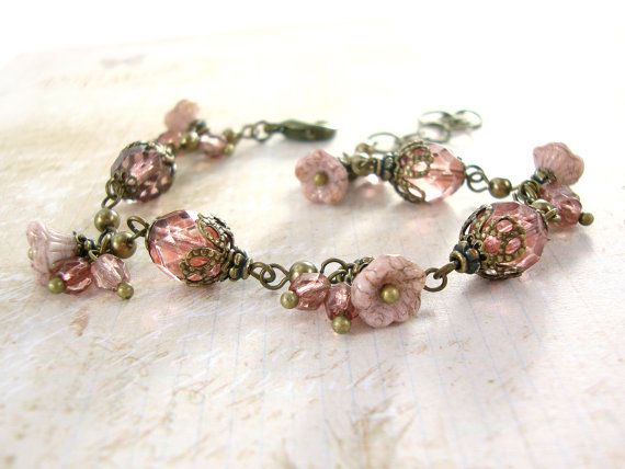 Dusty Pink Neo Victorian flower bracelet by ArdentHearts  Pink Czech glass beads and antiqued brass filigree vintage style jewelry