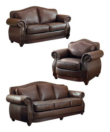 This Chocolate Leather Living Room Furniture Set by HomeBelle is perfect! #zulilyfinds. If I had a larger living room these would be terrific.  They are beautiful!