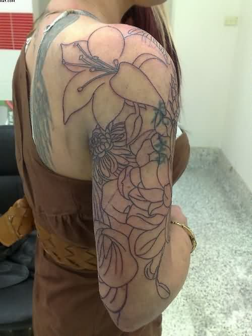 Simple Flowers Tattoos On Arm For Women