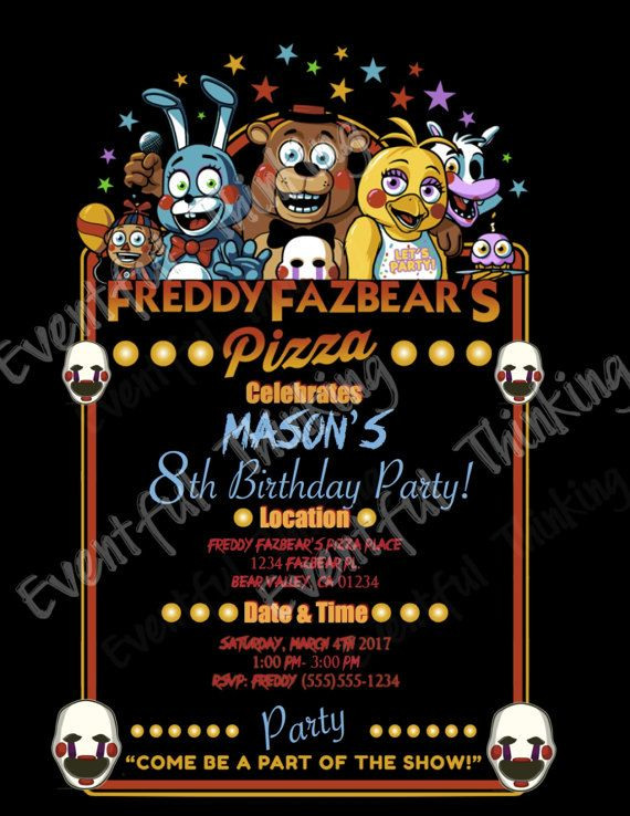Five Nights At Freddy S Birthday Invitations By