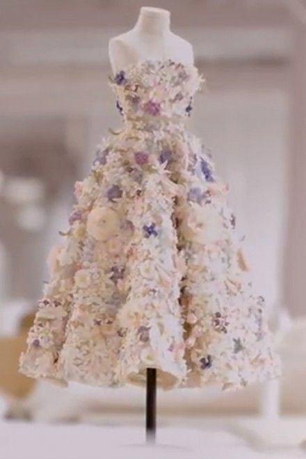 Beautiful short film showcasing intricate flower detail in a Dior Couture Dress (miniature version of the original from 50's)