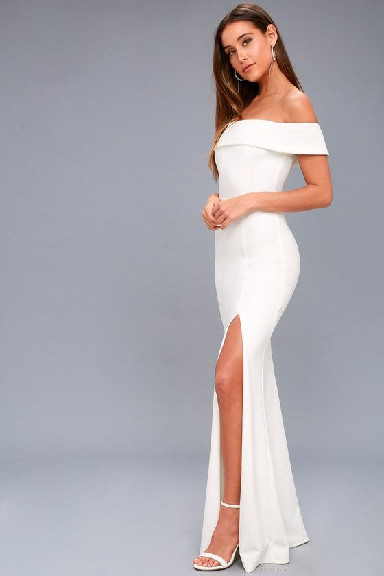 33c331151ef9 Lulus Exclusive! Beauty and grace are naturally associated with the Aveline  White Off-the-Shoulder Maxi Dress! Medium-weight