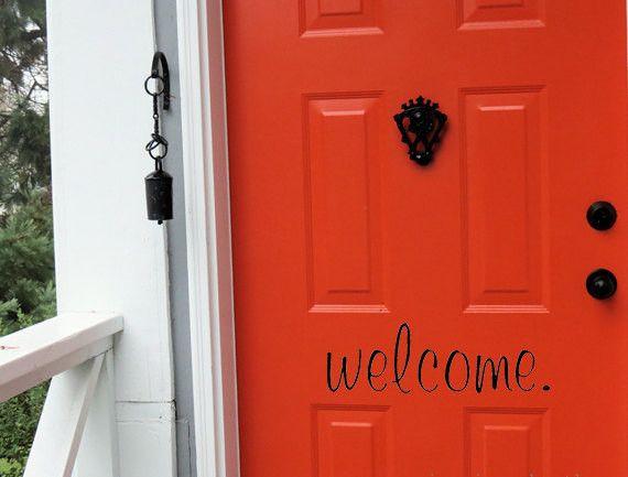 Welcome vinyl decal front door decals vinyl door decal for Design your own front door
