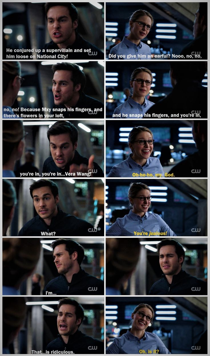 "I love the look on Kara's face when she realizes why Mon-El is so worked up. And again, Mon-El's poor excuse for a poker face is hilarious :) (Also: how does Mon-El know about Vera Wang? That's the real mystery.) |TV Shows||CW||#Supergirl funny edit||Season 2||2x13||""Mr. & Mrs. Mxyzptlk""