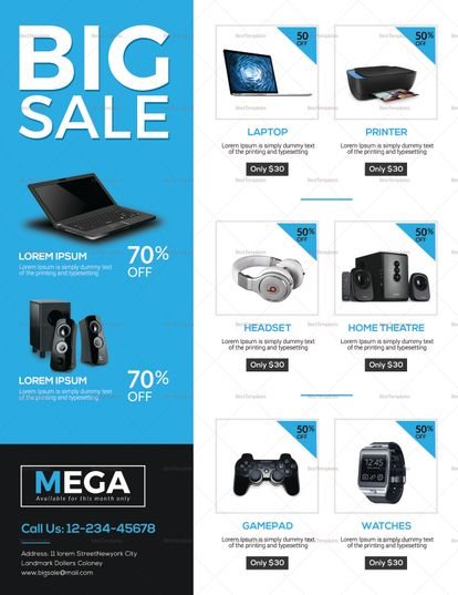 Electronic Big Sale Flyer Template Flyer Templates Sale flyer