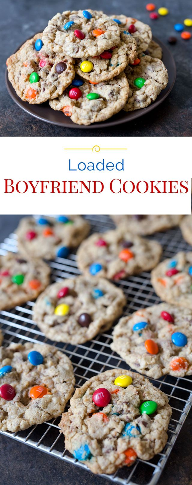 These colorful Boyfriend Cookies are loaded with three kinds of chocolate and good for you crushed oatmeal.