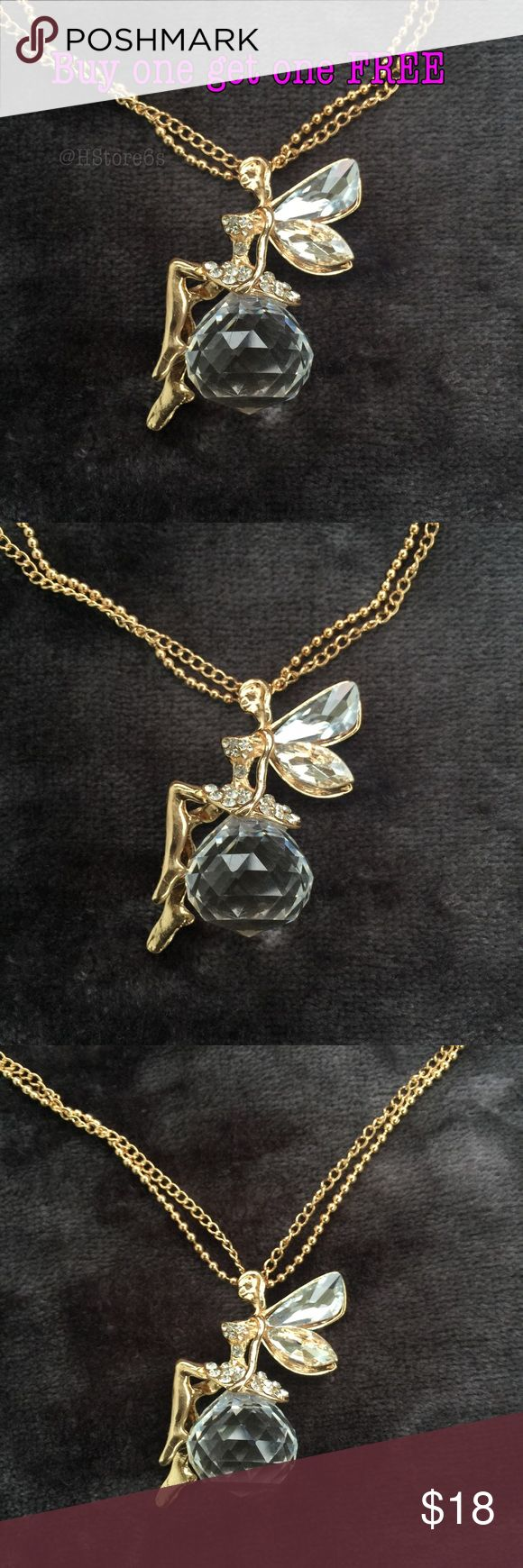 Crystal angel gold plated rhinestones necklace 😇 ***BUY 1 Get 1 FREE (equal or less value) - Price is firm except bundle - Bundle: 5% off (2 items), 10% off (3 items), 15% off (4 or more items) ***Please follow me for new listings.  Keyword to what I sell: silver plated jewelry white yellow gold rose gold earrings ring bracelet bangles necklace anklet bracelet baby small medium large huge hoop earrings. Stud earrings Fidget spinners  Dog cat toys cosmetics fashion jewelry emerald cut ring…