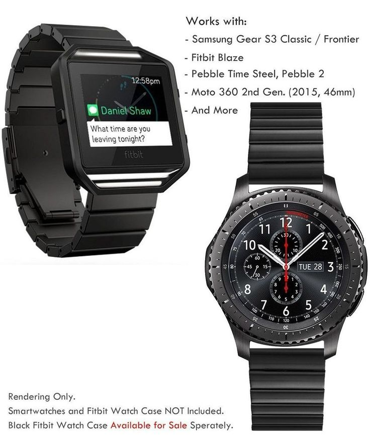 Samsung Gear S3 Frontier Classic Wristband 22mm Metal Link Stainless Steel Black