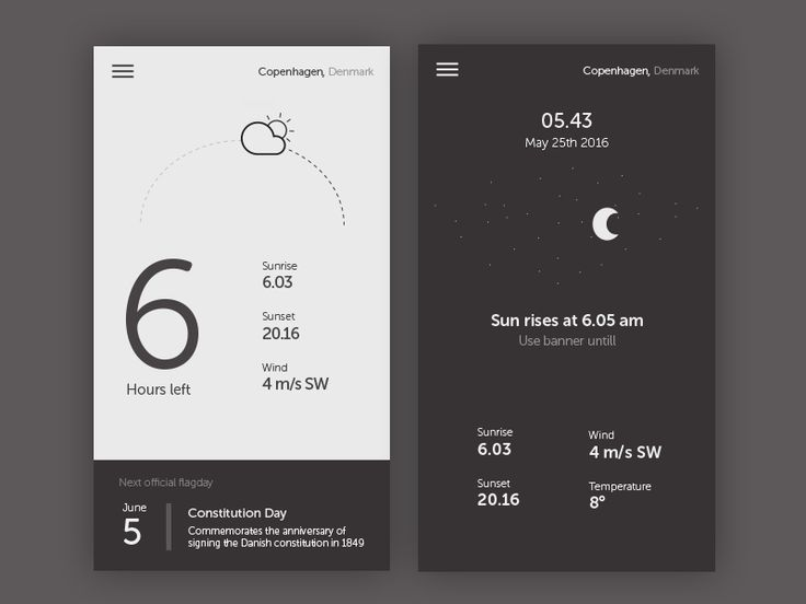 Flag app - App Design - UI, App Concept, Clean, Minimal, Black & White, Time, Hours, Countdown, Sunrise, Sunset, Denmark