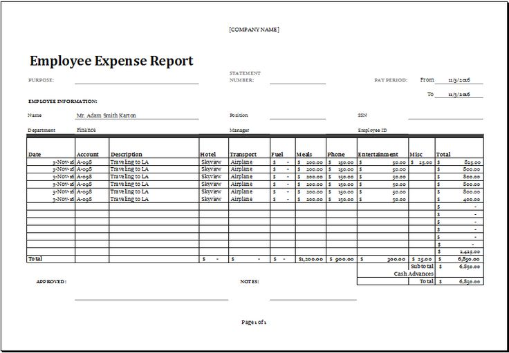 employee expense report at       xltemplates org