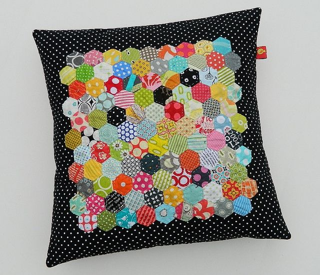 "epp 3/4"" hexie on black pillow by s.o.t.a.k. handmade"