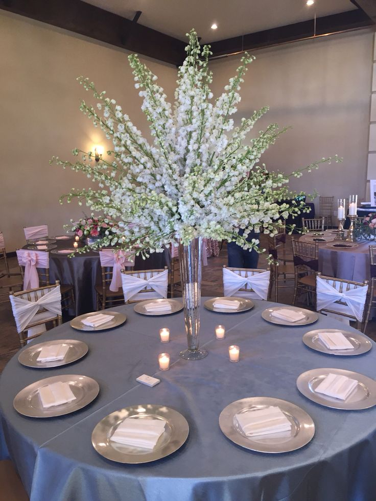 White Delphinium Centerpiece Weddingflowers Centerpiece