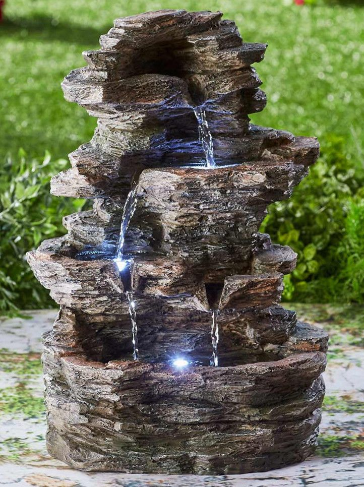 Cascading Water Fountains Outdoor.Rock Fountain Outdoor Tiered Waterfall Led Light Garden