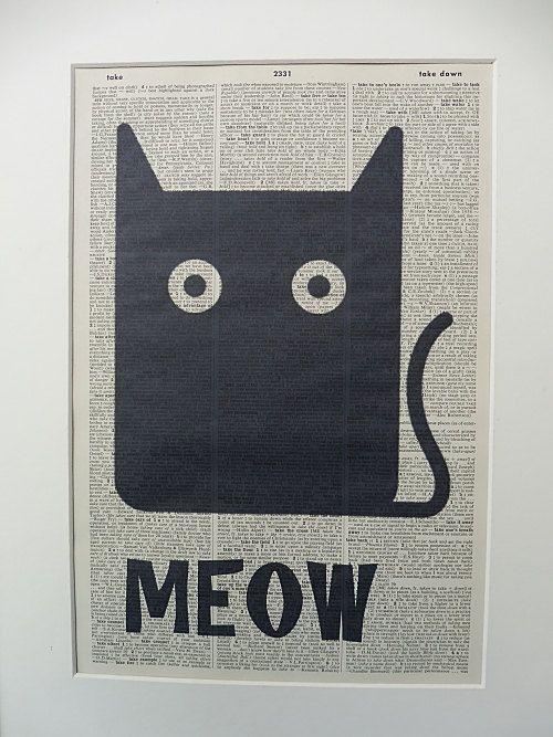 Cat Wall Art Print No.355 black cat cat poster by DecorisDesigns