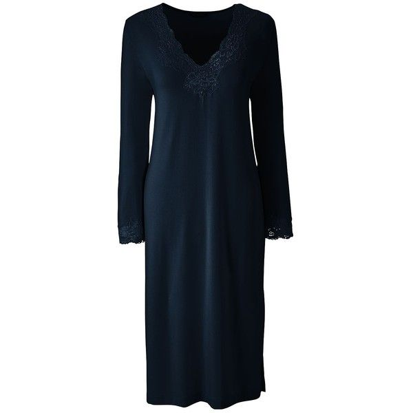 Lands' End Women's Petite 3/4 Sleeve Knee Length Nightgown ($45) ❤ liked on Polyvore featuring intimates, sleepwear, nightgowns, blue, lands end nightgown, blue nightgown, petite sleepwear, lands end sleepwear and lands' end