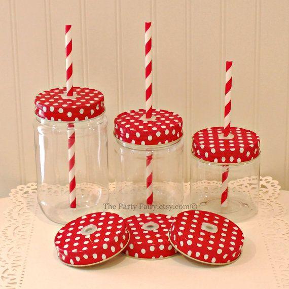 Plastic Mason Jar, 10 Mason Jars with Red POLKA DOT Jar Lids and FREE Paper Straws, Straw Holes with Grommets, Mason Jar with Lids, Birthday