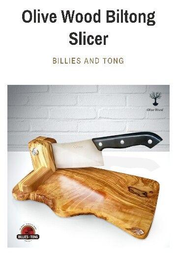 Olive wood biltong cutter