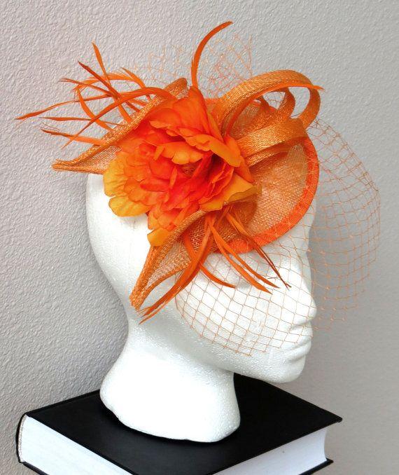 Orange fascinator flower wedding fascinator by FascinatorsFirst