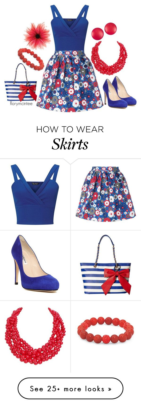 """House Of Holland Floral Leather Mini Skirt"" by florymcintee on Polyvore featuring Miss Selfridge, House of Holland, L.K.Bennett, Humble Chic, Charles Jourdan, Palm Beach Jewelry and Gabriella Rocha"