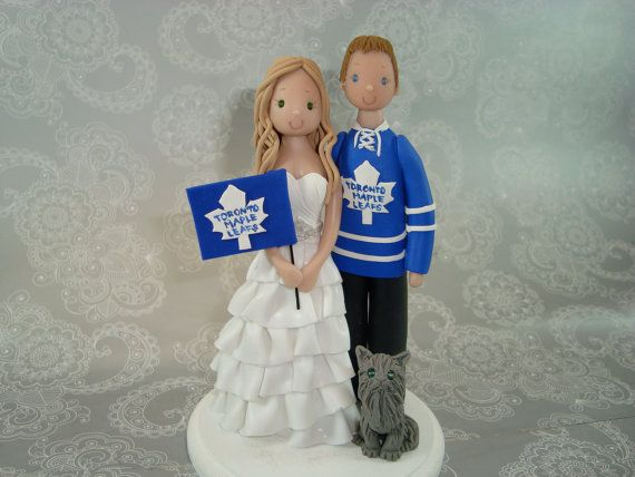 Bride & Groom Toronto Maple Leafs Fans Custom Cake Topper! Wedding by mudcards, $140.00