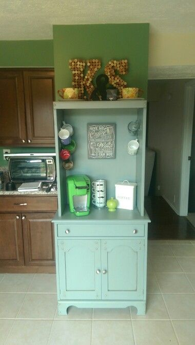 My newly finished coffee nook! Thanks to Rustoleum Furniture Finish, this is done! I used Seaside Gray and only did the decorative glaze in corners to add some depth. Command hooks hold up the mugs and i got the sign off of Amazon! Everything else was a gift!