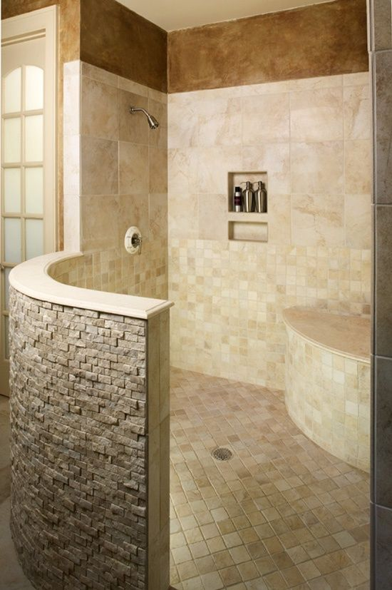 No glass door to clean!  I do think this shower deserves a fancier shower head though..
