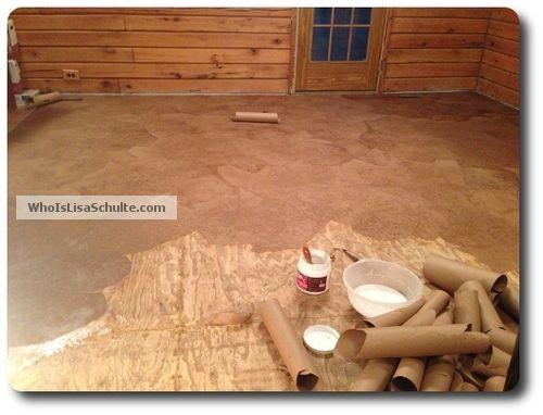 my brown paper bag floor, diy, flooring, how to, tile flooring