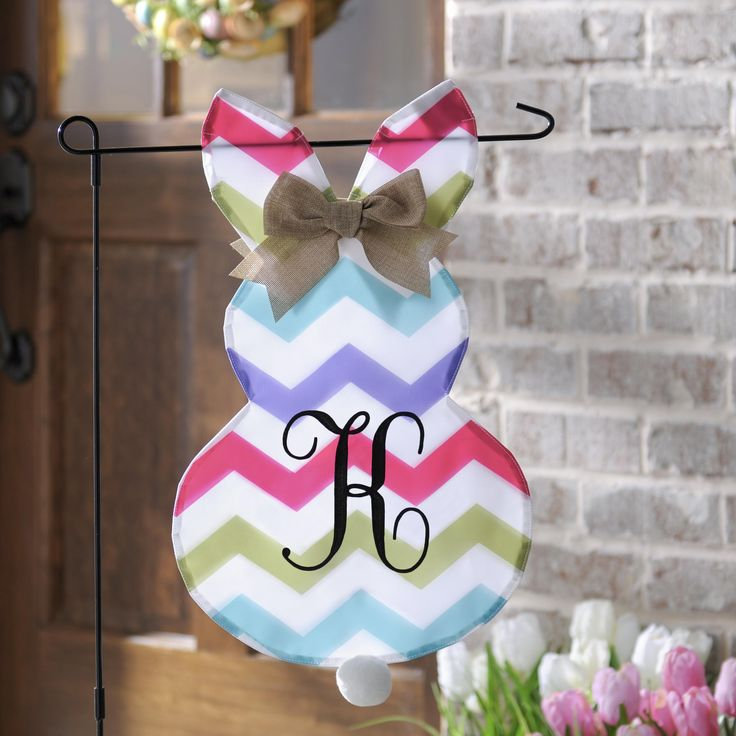 Welcome The Easter Bunny And Your Guests To Your Home With This Fun Chevron  Bunny Monogram Flag Set. It Will Add Spring Color To Your Yard In No Time!